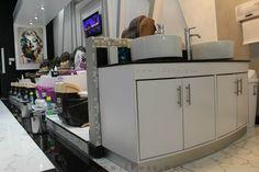 Furniture for Nail Salon Design by #ifoss Contact ☎️: 7145567895 or Web 🌐: www.iFoss.com #iFOSSInc Address: 10562 Garden Grove Blvd, Garden Grove, CA 92843 #designnailsalon #interiordesign #beautysalon #manicuretable #pedicurechairs #furniture #modernlook #THIETKETTIEMNAIL #designtiemnail #tiemnaildep #spacesaving #wallmural #decor #sink #doublesink Nail Salon Furniture, Nail Salon Design, Space Saving, Wall Murals, Salons, Sink, Interior Design, Garden, Kitchen