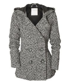 Look at this Black Herringbone Hooded Peacoat on #zulily today!