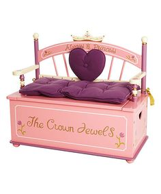 Bitty royals have treasures aplenty to store in this hand-painted bench. Once a little queen has put away the scepter and crown (or maybe just toys, books and stuffed animals), it can be used as a throne. A slow-closing hinge on the lid keeps fingers safe.Includes bench and removable seat cushion32'' W x 28'' H x 13'' D