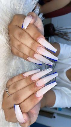 Acrylic Nail Designs Coffin, Acrylic Nails Coffin Pink, Long Square Acrylic Nails, Coffin Nails Long, Long Nails, Drip Nails, Glue On Nails, Royal Blue Nails, Black And Blue Nails