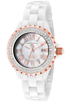 Swiss Legend Karamica Diamonds White High-Tech Ceramic Diamond Encrusted Bezel Watch - $599.99