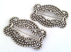 Rare ! Vintage Miriam Haskell Cut Steel Brooch Pins , 2pcs These 2 antique Victorian style cut steel brooches measure 60mm wide and 40mm tall. Both