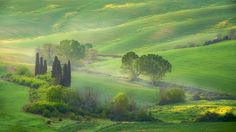 Countryside by mabart trees fog spring countryside hills rural warm light cypresses iconic Toscana Italy Sunrise Morning I Toscana Italy, Cool Landscapes, Landscape Photos, Countryside, Fields, Golf Courses, Tourism, Sunrise, Vacation