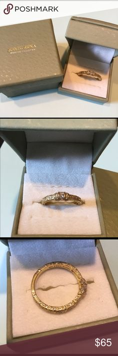 Judith Ripka  estate style band ring 925/GP cz's Judith Ripka gold plated sterling silver estate style ring,, baguette cut cz's and round cut cz's on sides of baguettes and a few down the rope motif sides.. Worn once ..middle, index or thumb ring size 11... please see pics .. thx for looking in my closet bundle to receive discount 😃🏄🏻🧜🏼♀️💕 Judith Ripka Jewelry Rings