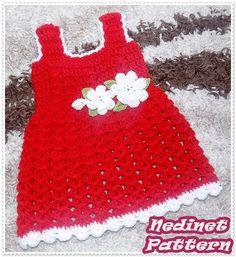 Crochet baby red dress pattern crochet baby by NedinetPattern