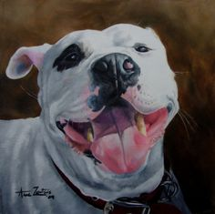 Happy Girl - original oil painting of a rescued dog, painting by artist Anne Zoutsos