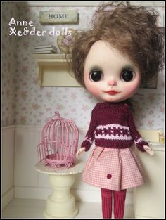 OOAK custom blythe doll with mohair reroot Anne by XeiderDolls