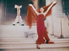 Oh, the glamor.  Audrey Hepburn in Funny Face, 1957
