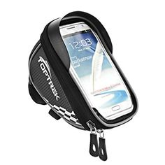 TOPTREK Cycling Bicycle Bike Top Tube Handlebar Bag Phone Mount Holder For iPhone 7 7Plus 6 6plus 6s 5 5s / Galaxy Note2 / Galaxy S5 Cellphone Below 5.5 Inch Waterproof Front Frame Bags