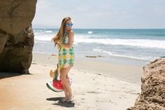 Pineapple dress (under $20!) and watermelon beach bag. My favorite nude wedges and blue sunnies are 25% off! #HelloGorgeous