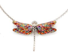 Dragonfly Necklace, Handmade Sterling Silver Pendant with Millefiori Polymer Clay, Dragonfly Jewelry, Colorful Necklace, Gifts for Her Dragonfly Necklace, Dragonfly Pendant, Wing Necklace, Dragonfly Art, Polymer Clay Necklace, Polymer Clay Pendant, Handmade Polymer Clay, Handmade Sterling Silver, Sterling Silver Pendants
