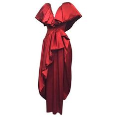 Preowned 1980S British Scarlet Silk Satin Ruffled Evening Gown ($1,400) ❤ liked on Polyvore featuring dresses, gowns, red, red ruched dress, red gown, ruffle gown, ruffle dress and red evening dresses
