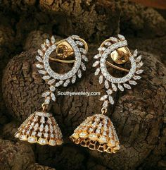 Latest Indian Jewellery designs and catalogues in gold diamond and precious stones Diamond Jumkas, Real Diamond Earrings, Jewelry Design Earrings, Gold Earrings Designs, Jewellery Designs, India Jewelry, Gold Jewelry, Ear Jewelry, Gold Bangles