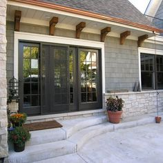 Useful reference pertaining to french doors patio Exterior Trim, Exterior House Colors, Exterior Paint, Exterior Design, Black Windows Exterior, Exterior French Doors, Corbels Exterior, Exterior Cladding, Exterior Sliding Doors