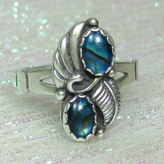 Sterling Silver Gemstone Ring with Feather Design Size 9