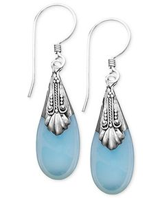 Jody Coyote Sterling Silver Earrings, Glass Teardrop