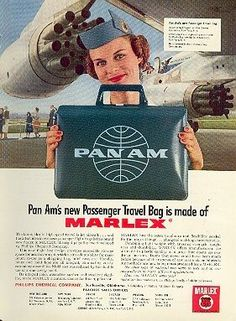 Pan Am / Marlex plastic travel bag Retro Advertising, Vintage Advertisements, Vintage Ads, Pan Am, Retro Airline, Vintage Airline, Belle Epoque, Travel Ads, Air Travel
