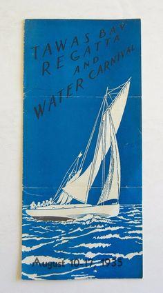 Vintage Michigan travel brochure Tawas Bay Regatta and Water Carnival