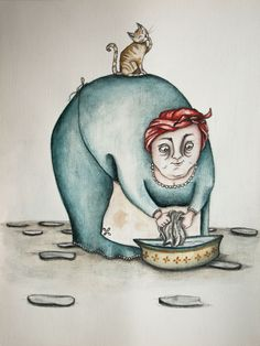 sich waschen . to wash oneself . lavarse #illustration #drawing #art #cat #watercolour