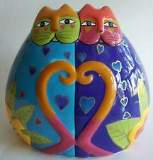 Laurel Burch Ceramic Cats with Hearts Bank Ganz