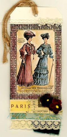 Darkroom Door 'Edwardian Ladies' Collage Stamp. Tag created by Susie Campbell.