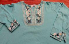 Denim & Co Sz 3X Long Sleeve Turquoise Top w/Black & White Trim NWOT #DenimCo #KnitTop