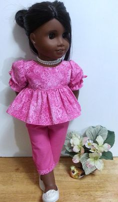 American Girl & 18 Inch Doll 2 Pc. Empire Top and Capri Outfit - Flowery Butterfly