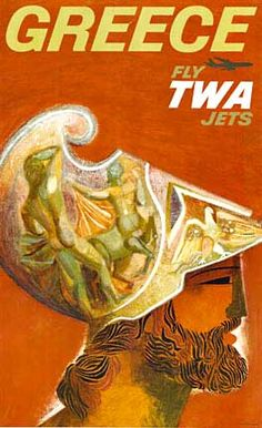 Vintage travel poster of #Greece for TWA by David Klein, 1960s