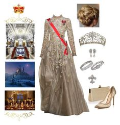 """""""King Nicolas and Queen Rose held a gala dinner for Members of Parliament at Winter Castle"""" by hm-queen-rose ❤ liked on Polyvore featuring Ben-Amun, Jimmy Choo and Gianvito Rossi"""