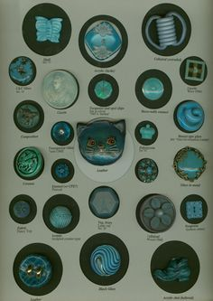 A wonderful variety of turquoise colored buttons