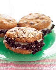 Super Bowl Ice Cream Desserts // Mini Chocolate Chip Ice Cream Sandwiches Recipe