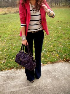 Great red blazer, striped tee, black pants and great necklace