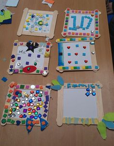 Children's craft - mosaic picture frames at Aston Hall Vbs Crafts, Daycare Crafts, Camping Crafts, Toddler Crafts, Crafts For Kids, Arts And Crafts, Paper Crafts, Creative Activities, Activities For Kids