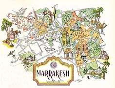 old map of Marrakesh Morocco, a pictorial map by Jacques Liozu, 1946, this is a good source for high quality printable vintage maps and illustrations