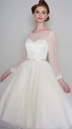 Loulou MAISIE Tea Length Vintage Polka Dot Short Wedding Dress With Full Sleeves, Available in any length, Cutting Edge Brides Vintage Style Wedding Dresses, Elegant Wedding Gowns, Long Wedding Dresses, Bridal Dresses, Vintage Dresses, Short Dresses, Dress Long, 1950 Wedding Dress, Trendy Wedding
