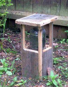 Make a garden 'bollard' driveway light out of pallet wood and a glass jar