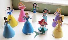 Disney princesses 3D paper dolls. Silhouette print and cut tutorial. (Princess templates free from disney site)