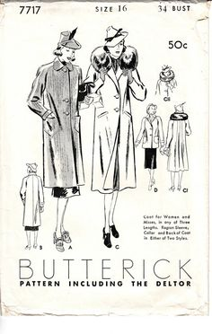 Vintage 1930s Butterick 7717 sewing pattern. Envelope in good condition, minor tears at flap area. Pattern is non printed and pre-cut and