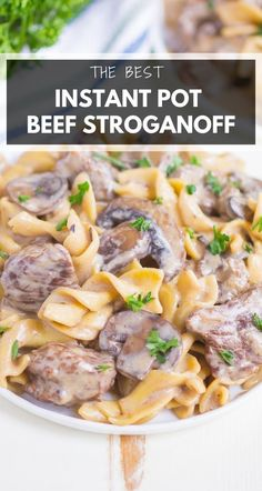 Instant Pot Stroganoff is the best comfort meal made in just one pot. With tender beef, noodles, and a savory, creamy sauce, this hearty dish is perfect for everyone! #instantpotstroganoff #stroganoff #instantpotbeefstroganoff #instantpotbeef #beefstroganoff #instantpotbeefstroganoffstewmeat #stewmeat #easydinner #instantpotdinner