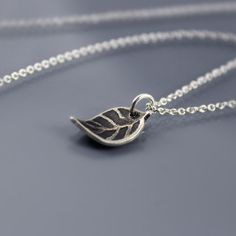 Tiny Leaf Necklace  Etched Silver  Nature Jewelry by lisahopkins, $39.00