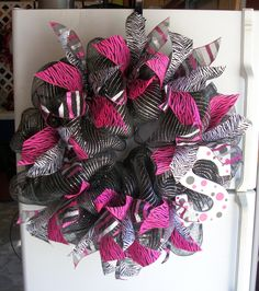 Zebra Monogram Wreath... The girls would LOVE this!