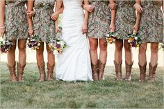 Unconventional but I found it appealing. Camo wedding bridesmaid dresses with cowboy boots. Cowgirl Wedding, Camo Wedding, Sister Wedding, Wedding Bells, Dream Wedding, Wedding Dreams, Wedding Attire, Hunting Wedding, Princess Wedding