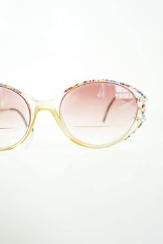 1980s Oval Luxottica Italian Made Eyeglasses Womens Glasses Optical Frames Colorful Rainbow Colors 80s Eighties Italy Authentic