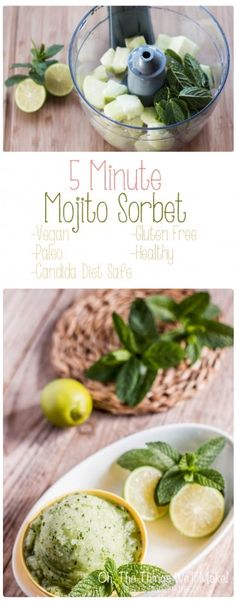 This refreshing mojito sorbet can be whipped up in 5 minutes, after a bit of prep work, and is a healthy treat for cooling off this summer. Not only is it healthy, vegan, paleo and delicious, but it is even candida diet safe!