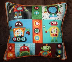 Robot Pillow in Orange, Blue, Brown, Green with Striped Cotton Fabric on Back Side- Silly Bots Pillow