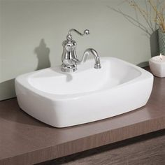 Cheviot 1270-WH Thema Overcounter Self Rimming Bathroom Sink, White