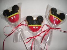 6 Mickey Mouse Cookie Lollipops Gourmet by YummyYummySugarShop, €6.00