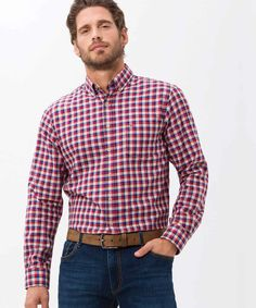 Checkmate Fresh red and navy check button-down shirt will keep you up to speed in comfort and style. Red/Navy Catalogue ID: Cotton Blazer, Check Shirt, Festival Outfits, Moto Jacket, Houndstooth, Festive, Button Down Shirt, Shirt Dress, Mens Tops