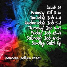 Week 75 Bible Reading Schedule, How To Plan, Movie Posters, Film Poster, Billboard