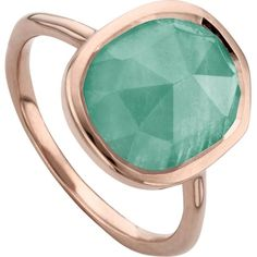 MONICA VINADER Siren 18ct rose gold vermeil and amazonite medium... ($125) ❤ liked on Polyvore featuring jewelry, rings, gold vermeil ring, monica vinader, monica vinader rings, polish jewelry and stacking rings jewelry